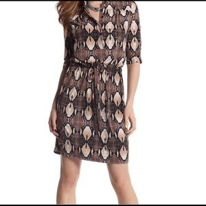White house black market snake print shirt dress